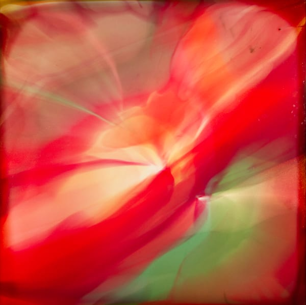 Synchronicity, flowing abstract red painting
