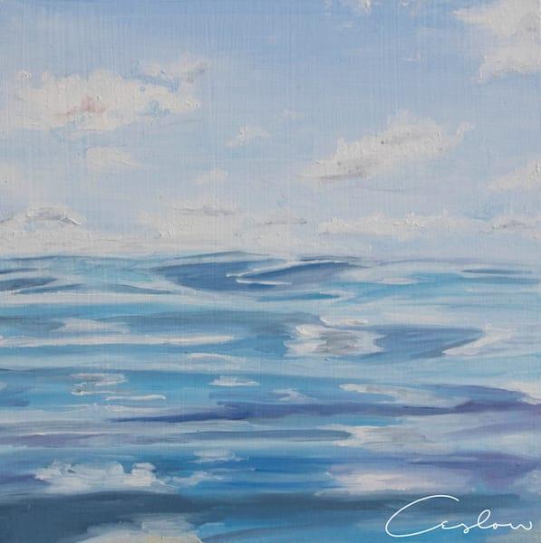 Tropical Blue, II original oil on wood ocean painting