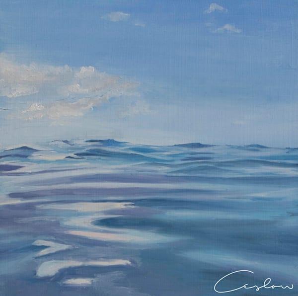 Tropical Blues, III original oil on wood ocean painting