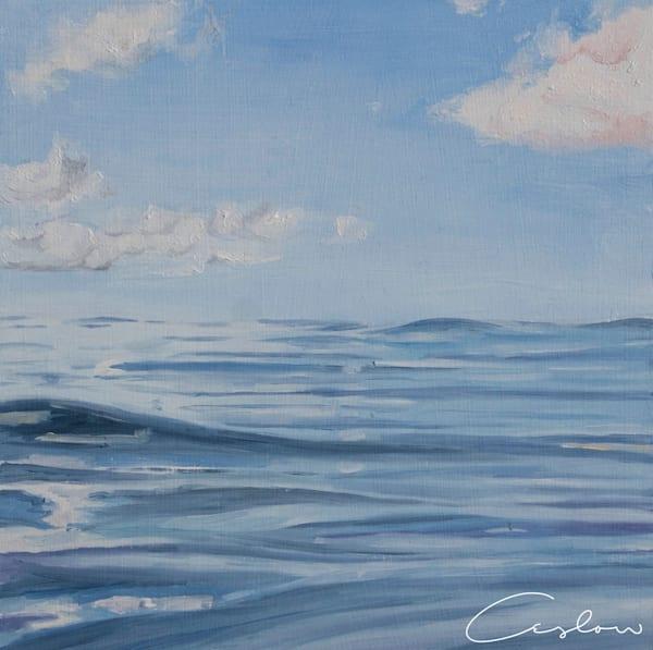 Tropical Blues, IV original oil on wood blue ocean painting
