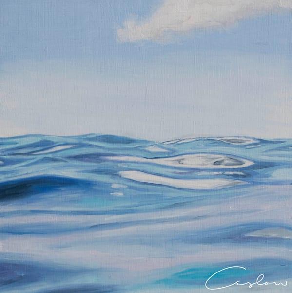 Tropical Blues, V original oil on wood blue ocean painting