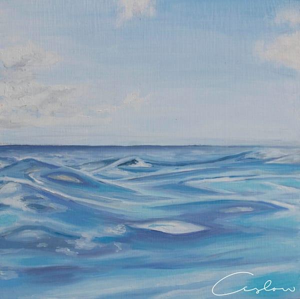 Tropical Blues, VI original oil on wood blue ocean painting