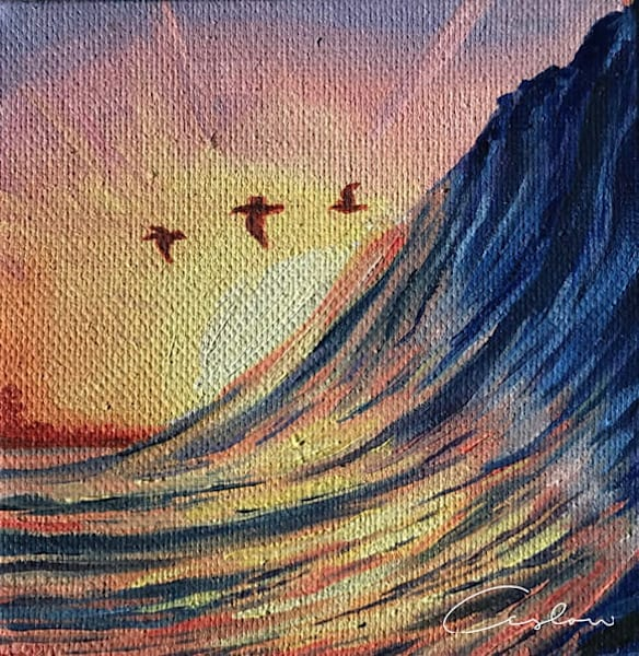 Three Birds - Original Sunset Ocean Oil Painting