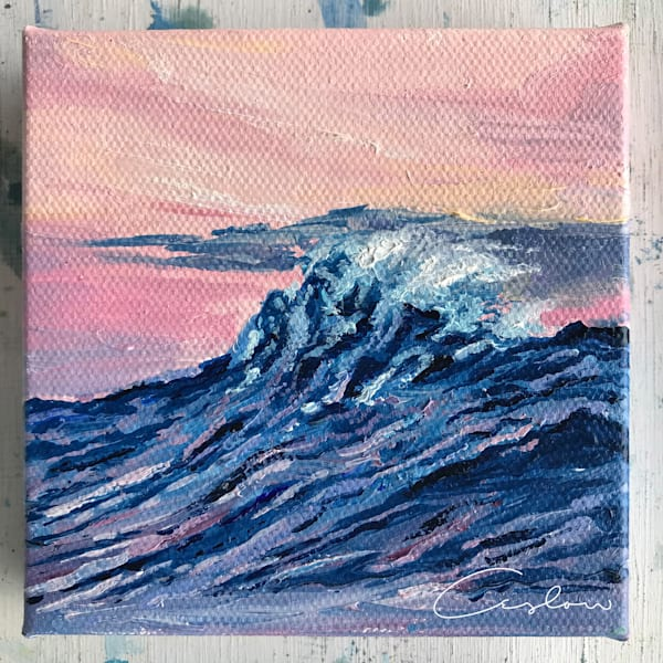 Cotton Candy Delight - Pink Ocean Sunset Painting