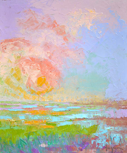 Pastel Color Sunset Painting, Fine Art Print by Dorothy Fagan