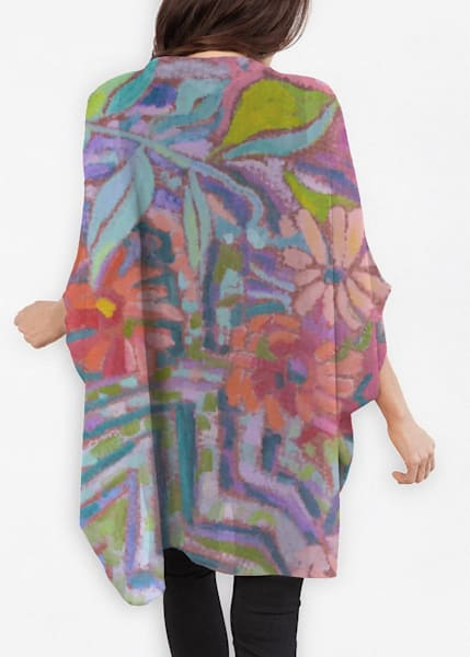 Sheer Wrap Cocoon Jacket Meandering Garden by Dorothy Fagan