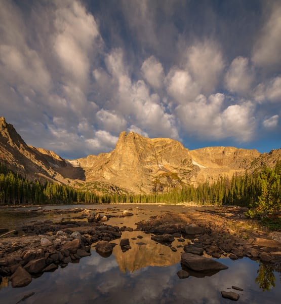 Colorado Photo Notchtop Mountain, Two Rivers Lake Puffy Clouds RMNP