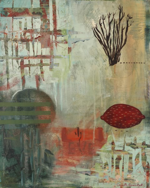 Eve Flora' de Camille.Original Mixed Media Abstract Painting on canvas.