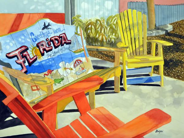 The Island Cow restaurant - A painting by Shah Hadjebi