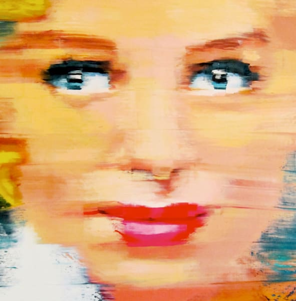 Girl with the Far Away Eyes #3' Pop Art Oil Painting by artist Gerry