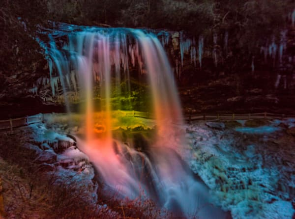 Light Painting On Dry Falls, Highlands, Nc Art | Drew Campbell Photography