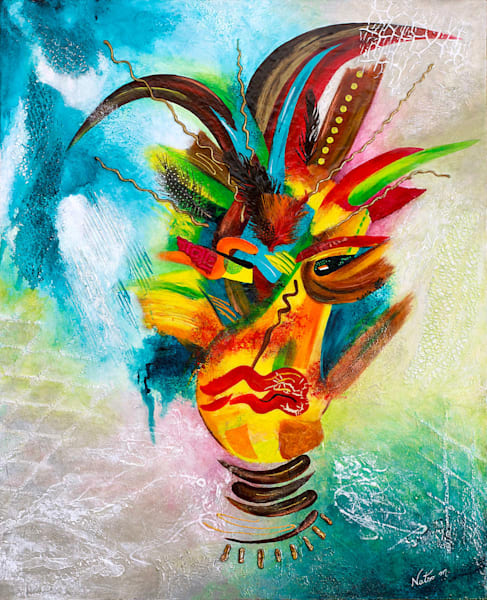 Shaman II mixed media painting by Natso