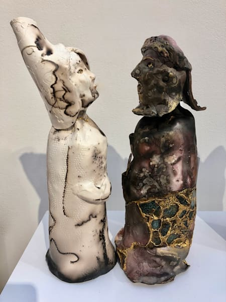 """Kissing Couple 2"" Pair Romantic Ceramic Works Raku Clay Sculpture by Monique Sarkessian prophetic artist."