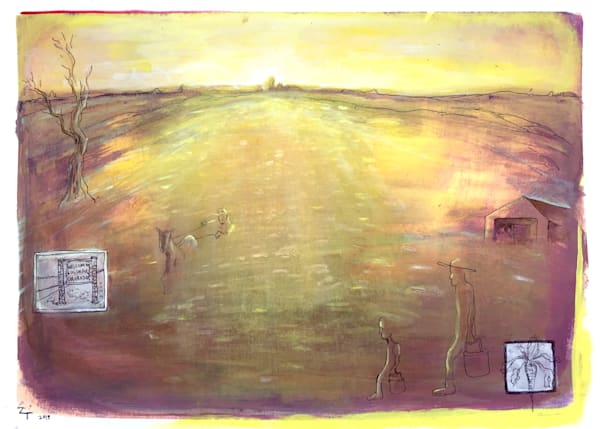 beet toppers landscape sunrise print painting drawing
