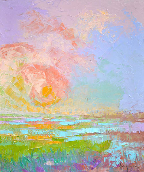 Beautiful Sunset Painting, Original Oil by Dorothy Fagan