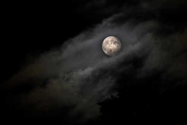 Full Moon Shrouded In Clouds Art | Drew Campbell Photography