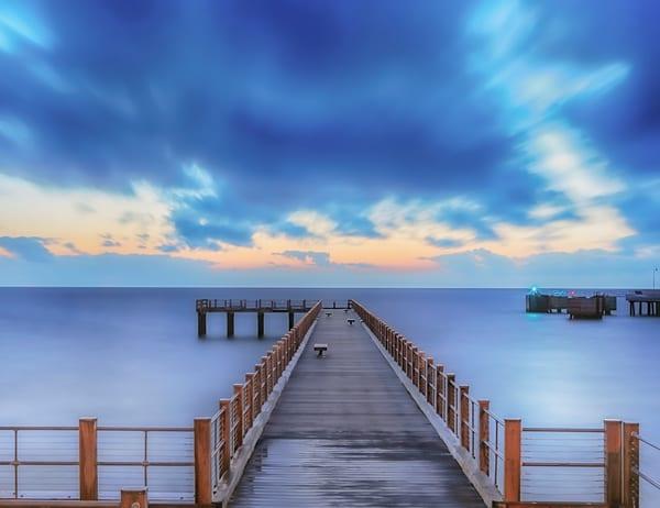 Fishing Pier Blue Clouds Art | Michael Blanchard Inspirational Photography - Crossroads Gallery