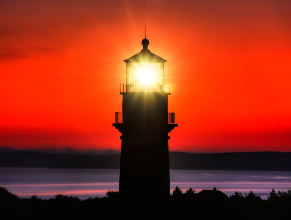 Gay Head Light Red Sky