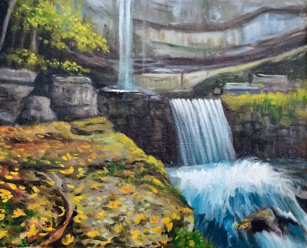 Indian Summer at the Dam Original Landscape Artwork by Hilary J. England