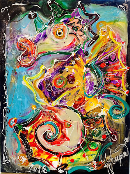 Seahorse Carnival Crazy Girl Art | STACIE KRUPA FINE ART - THE COLLECTION