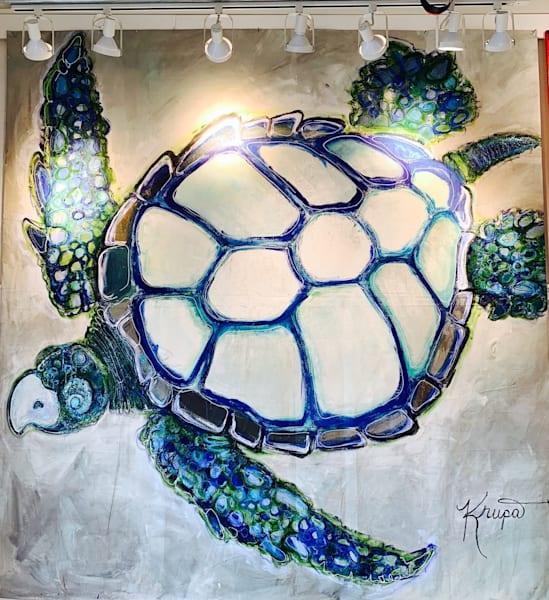 Sea Turtle Majestic King Rockstar Art | STACIE KRUPA FINE ART - THE COLLECTION
