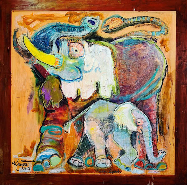 Elephant Rockstar & Baby Poo Poo Art | STACIE KRUPA FINE ART - THE COLLECTION