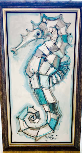 Seahorse Aqua Queen Art | STACIE KRUPA FINE ART - THE COLLECTION