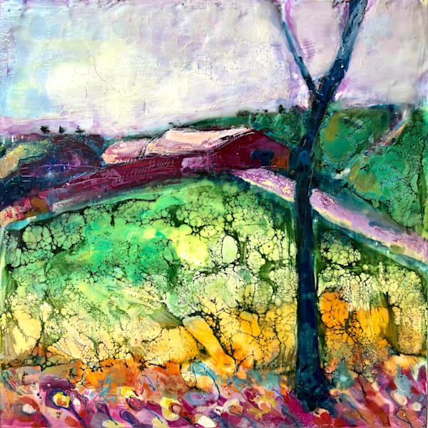"""Magenta Farm"" Plein air oil and encaustic wax painting on wood by Monique Sarkessian 12""x12"""
