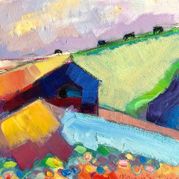 """""""Blue Farm"""" Plein air oil painting on wood by Monique Sarkessian 6x6"""""""