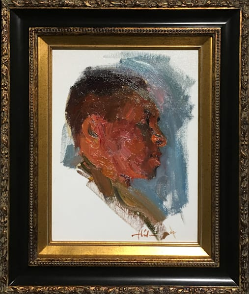 """Male Head"" oil painting from life by Huihan Liu"