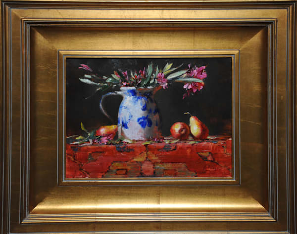 """Pears on Oriental Rug"", an original oil painting by Robert Johnson"