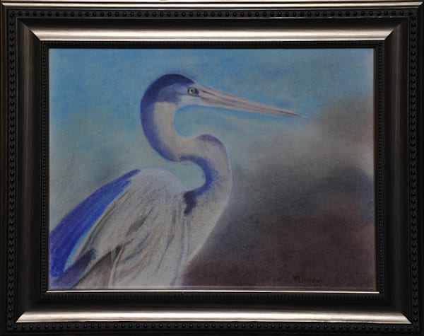 """""""Heron Hunting"""", original pastel by Wanda Liliedahl"""