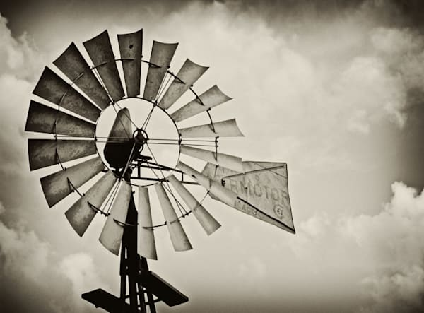 Southwest Oklahoma windmill fine art print in sepia