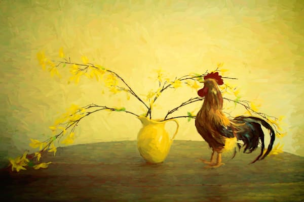 Rooster and Pitcher  Farmhouse Art