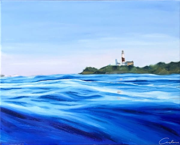 East   Original oil on linen painting of the Montauk lighthouse by artist Candace Ceslow