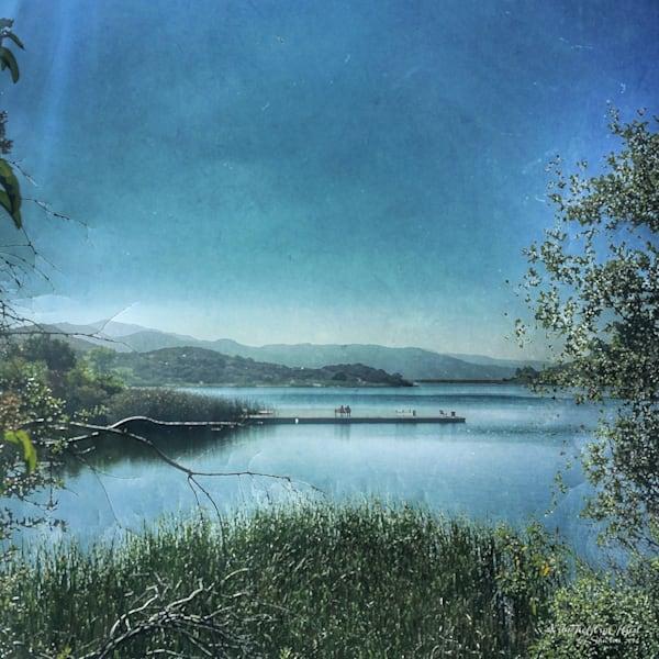 Lake Dixon Morning Walk - digital painting photograph