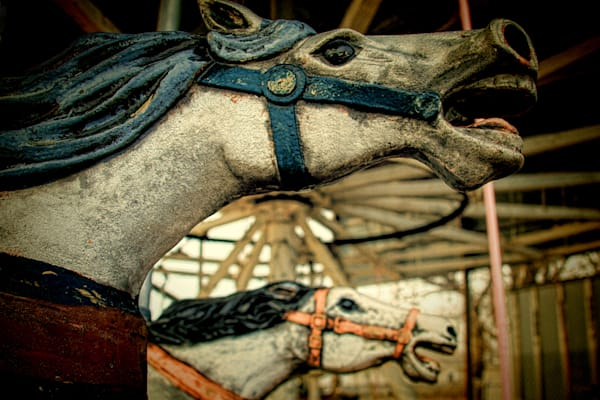 Siilver   Blue  Carousel Horses Duo Photography Art | TONYGRIDERIMAGES.COM