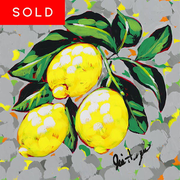 Original painting of lemons on a branch by Jodi Augustine.