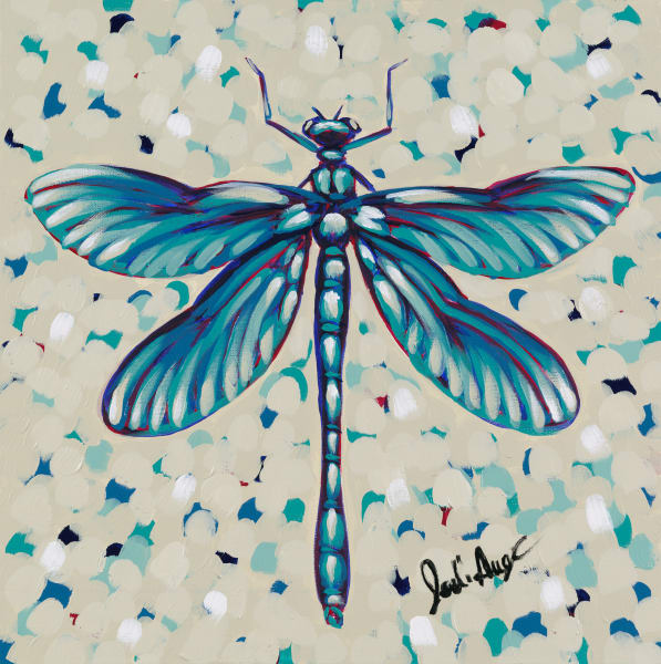 Painting of a blue and teal dragonfly.