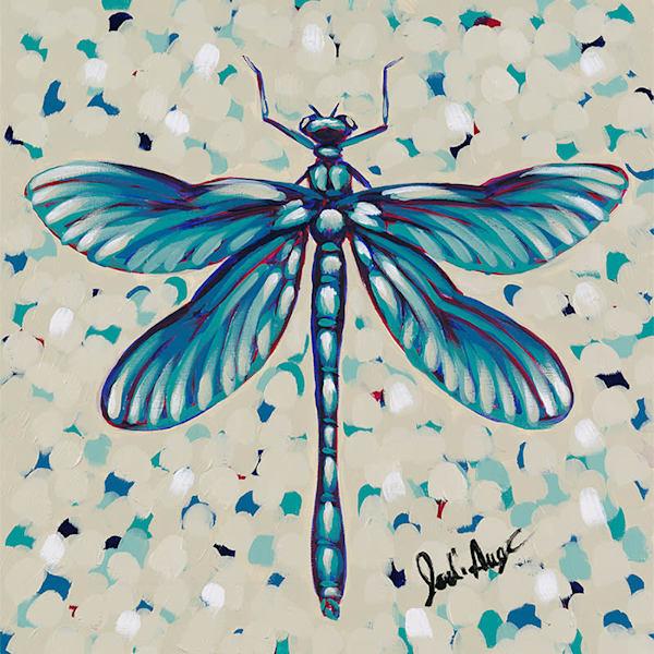 "Original artwork of a dragonfly titled ""Believe""."