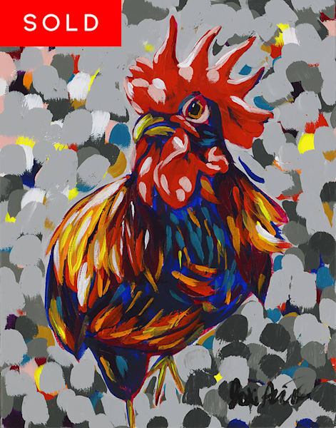 Original Acrylic painting of a hen by Jodi Augustine.