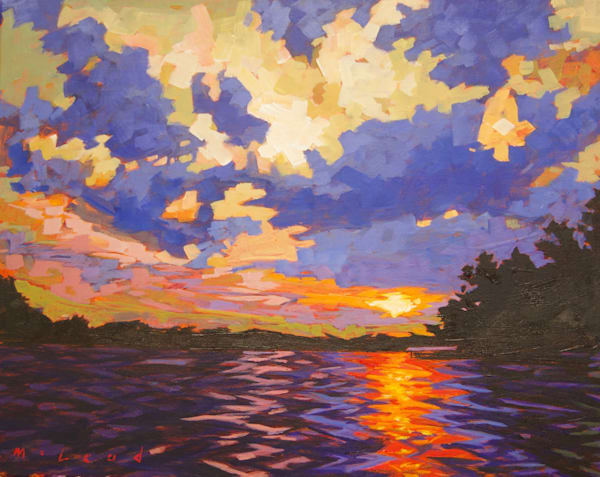 365 Sunsets Series, #3 Lake Hamilton, Hot Springs, AR. Original acrylic on canvas painting by Matt McLeod.