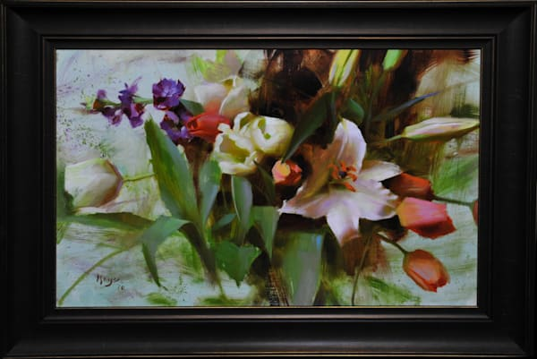 """Lilies and Tulips"" oil painting by Daniel Keys"