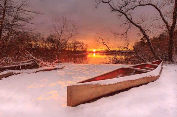Canoe Winter Sunset