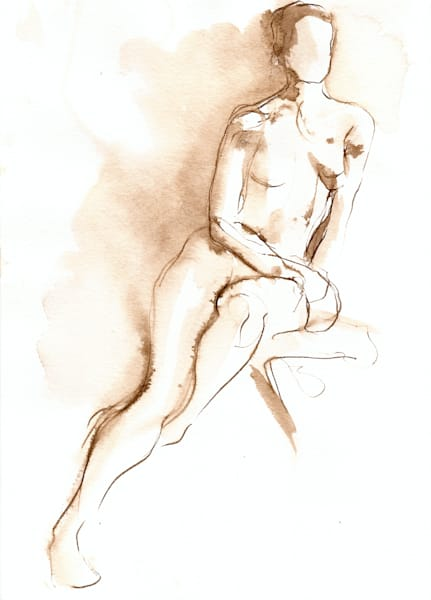 Seated Female Figure Line Drawing