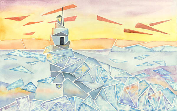 """Breaking Ice, Breakwater Light"" fine art  print by Matthew Campbell."