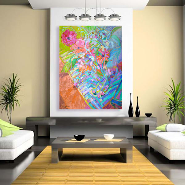 Colorful Zinnia Painting, Limited Edition 10 by Dorothy Fagan Joy's Garden