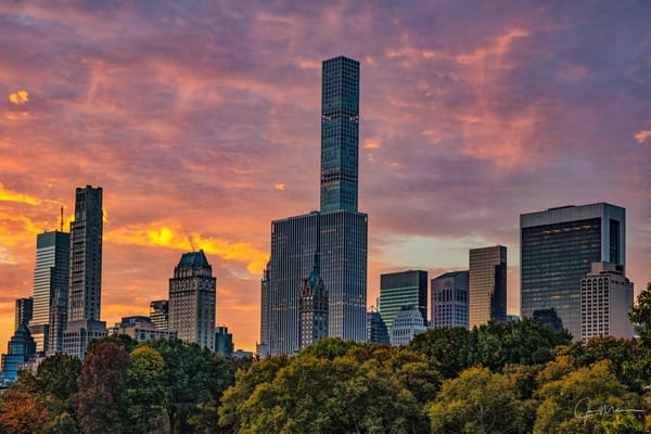 Sunrise View Of The New York City Skyline   Central Park, Ny Art | JMohar.com
