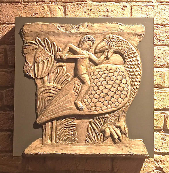 """Man Riding Bird"" Bas Relief Art 
