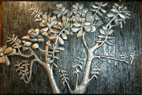 """Jade Plant "" Bas Relief Art 